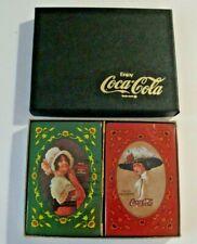 COCA COLA COKE PLAYING CARDS 2 DECKS SEALED BOX ORIGINAL VINTAGE WOMEN 1977