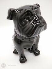 Vintage Australian pottery Large Bull Dog figurine statue black Glazed
