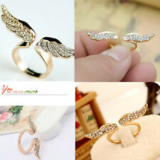 Adjustable Vintage Angel Wing Gold Plated Opened Crystal Ring Lovers Gift