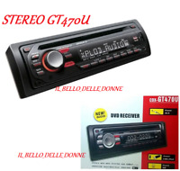 AUTORADIO STEREO USB SD AUX AUTO FRONTALINO ESTRAIBILE DVD MP3 TELECOMANDO GT470