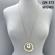Cross Circle Shaped Pendant Necklace Simple Long Gold Colored Chain Open