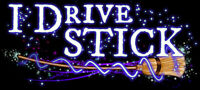 I Drive Stick Broom Bumper Sticker Car Vinyl Decal Witch Hat Wicca FREE SHIPPING