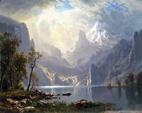 In the Sierras/Lake Tahoe by Albert Bierstadt Landscape Repro on Canvas or Paper