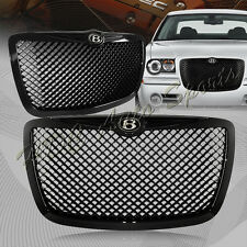 For 2005-2010 Chrysler 300 300C Black Mesh Front Hood Bumper Grille + B Emblem