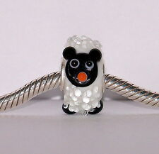 925 STERLING SILVER SINGLE CORE MURANO GLASS ANIMAL BEAD/CHARM- SHEEP MR WOOLY