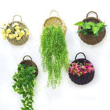 Flower Planter Wall Hanging Wicker Rattam Basket Garden Vine Pot Plants Holder-