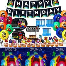 Among Game Us Birthday Party Decorations for Kids with Banner, Tablecover