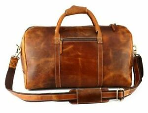 Men's Leather Duffle Bag, Classic Travel Holdall, Cabin Luggage, Carry Lite Hold