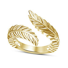 Bypass Leaf Wings Adjutable Toe Ring Women's 14k Yellow Gold Finish Lovely