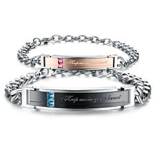 Edelstahl Partner Armband Armkette Zirkonia Stein Liebe Herz Gravur Schmuck S752