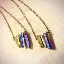 Blu Arcobaleno Pietra Cristallo collana- Oro Vintage guarigione della Boemia