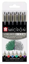 Sakura Pigma Micron Fineliner Archival Ink Assorted Colour Pen Set of 6 (0.25mm)