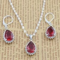3pcs Jewelry Sets Red Gemstone 925 Silver Drop FOR Earrings Pendant Necklace