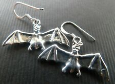 Sterling silver 925 pagan wicca goth bat dangle earrings
