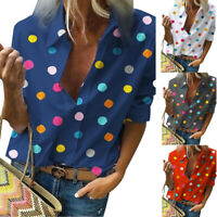 LADIES Women's Blouse Classic V Neck Polka Dot Shirts Roll Up Sleeve Blouses Top