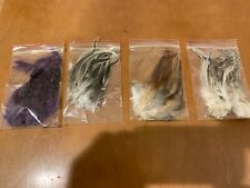 New listing Saddle Hackle 4 Packs Brown,Cree, Grizzly, and Grizzly dyed purple