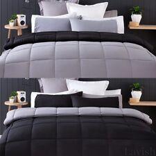 Reversible Comforter Bed Set QUEEN or KING Quilt Pillowcase Black Grey Bedspread