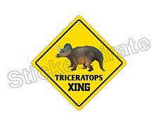 """*Aluminum* Triceratops Crossing Funny Metal Novelty Sign 12""""x12"""""""