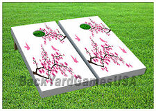 Vinyl Wraps Cornhole Boards Decal Cherry Blossom Tree Bag Toss Game Stickers 450