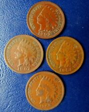 """Indian Head Cent 4 Coin Mixed Date Lot--1900, 02, 04 & 1908 """"Full Liberty"""" VF!"""
