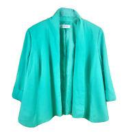 Kasper Women's 14 W Green Shoulder Pads Lined 3/4 Sleeve Career Blazer Jacket