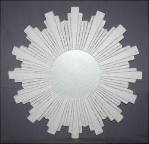Wall Mirror Round Home Office Living Room Sun Burst Wall Panel MDF & Glass