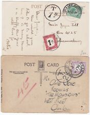 # 1920/23 1d & 2d SOUTH AFRICA POSTAGE DUES ON PPCs TAXE MARKS JO'BURG & DURBAN