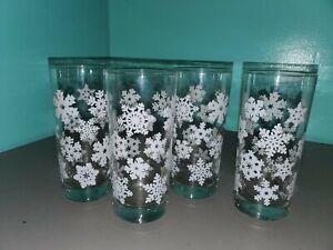 "4 Vintage Holiday Christmas Tumbler Beverage Glasses White Snowflakes 6 1/4"""