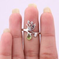 Peridot Gemstone Ring Size 7 925 Solid Sterling Silver Handmade Indian Jewelry
