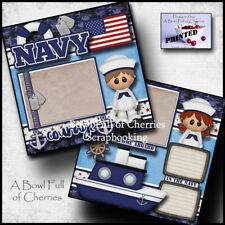 NAVY 2 premade scrapbook pages layout paper piecing veteran ship military Cherry