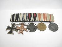 5er Ordensspange, EK 2 1914, Bayern MVK, EKF, Erinnerungsmedaille Tirol + KDM