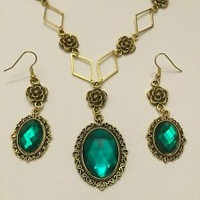 VICTORIAN STYLE - DIAMOND ROSE - EMERALD GREEN GOLD PLATED NECKLACE SET DR