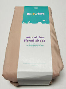 Twin Solid Microfiber Fitted Sheet Peach Pink Pillowfort Cert Made In Green NEW