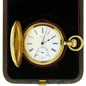 Antique Tiffany & Co. Solid 18K Yellow Gold 26s Pocket Watch w/ Original Box