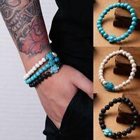 Women Men Natural Lava stone Turquoise Beaded Turtle Charm Lucky Bracelet Gift