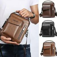 Men's Leather Casual Messenger Bag Vintage Cross-body Tote Handbag Shoulder Bag