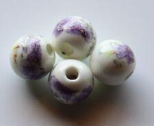 30pcs 10mm Round Porcelain/Ceramic Beads - White / Pale Purple Peony Flowers
