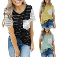 Womens Summer V Neck Striped Short Sleeve Loose T Shirt Casual Long Tops Blouse