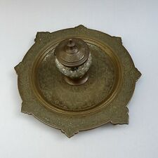 19thC Elkingtons Art Gold Bronze Inkstand with Cut Glass Inkwell / Antique