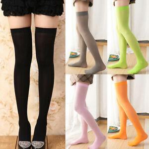 Girl's Over Knee Candy Color Thigh High Velvet Stockings Socks Non-Slip Sheer