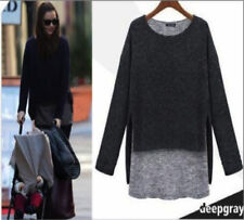 Q01 Womens Stylish 2 in 1 Long Sleeve Crew Neck Quality Knitted Loose Jumper Top XL / 14-16 Deep Gray