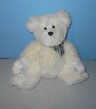 "16"" Benij The White Stuffed Teddy Bear Plush Plaid Bow Ganz Heritage Collection"