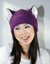 Purple fox Kitty cat fleece beanie toque hat cosplay anime manga goth ski rave