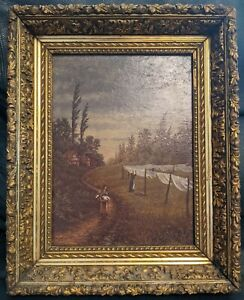 """Oil Painting """"The Coming Storm"""" 1889 Signed J.E. Fieldhouse Louisville KY"""