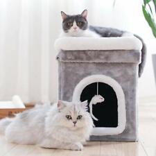 Cat Condo Cat Trees Portable Cat House Box Foldable Removable Cushion Plush Ball
