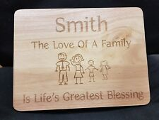 Personalised Wooden Cheese Chopping Board, Family Gift Any Message Engraved
