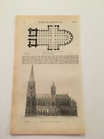 K66) Plans of Cologne Cathedral Germany Architecture History 1842 Engraving
