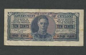 CEYLON BRITISH ADMIN 10 Cents Banknote 14 July 1942 Pete the Greek Circulated