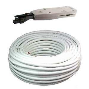 50m Cat 6 weiß UTP +LSA Verlegekabel Netzwerk Kabel LAN