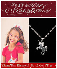 Girls Unicorn Necklace Silver Mythical Magical Charm Pendant Christmas Gift UK